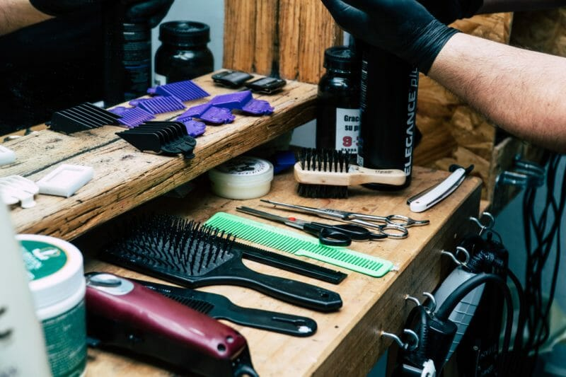 barber tools set on a wooden table