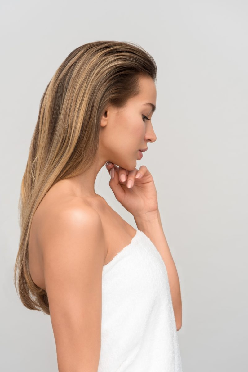 sleek long blong hair with a lot of volume on top